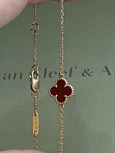 100%AUTH Van Cleef & Arpels VCA Sweet Alhambra Carnelian bracelet 750 Rose gold