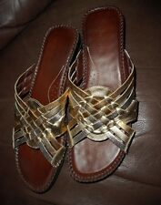 Auditions womens size 10S leather wedge slip on sandals