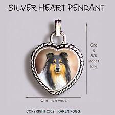 COLLIE DOG Rough Coat Tri Color  - Ornate HEART PENDANT Tibetan Silver