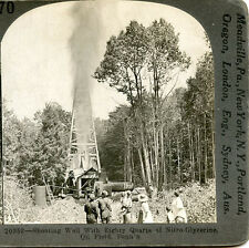 SHOOTING OIL WELL WITH EIGHTY QUARTS OF NITROGLYCERINE OIL FIELD PA STEREOVIEW