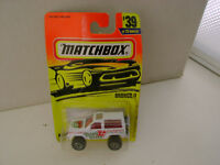 1996 MATCHBOX SUPERFAST MB 39 FORD BRONCO II 4X4 LUIGI'S PIZZA NEW ON CARD