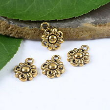 25pcs dark gold-tone flower charms findings h1839