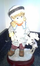 Girl with their dog Shudehill Figurine Ornaments Large on wooden base