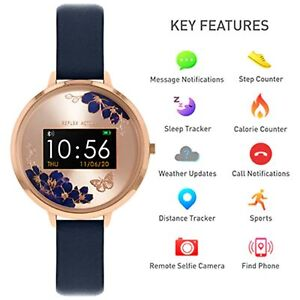Reflex Active Series 03 Rose Gold Dial Blue Leather Ladies Smart Watch RA03-2042