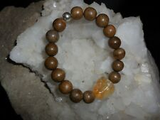 MENS EXOTIC WOOD BEAD AND CITRINE NUGGET BRACELET