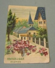 1910 Era Kranich & Bach Pianos Embossed German Advertising Postcard Town Flowers