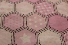 """100% COTTON FLANNEL BY THE YARD---42""""--PINK HEXAGONS"""