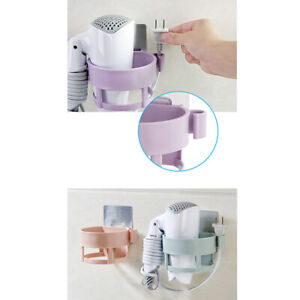 Bathroom Seamless Hair Dryer Shelf Practical Adhesive Hair Dryer Storage Rack SW