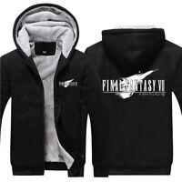Game Final Fantasy VII FF7 Logo Hoodies Zip Up Fleece Super Warm Sweatshirt Coat