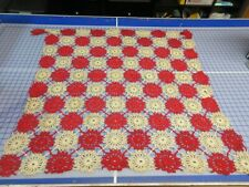 """Vintage Crochet Afghan Throw Blanket Handmade Off White & Red 37"""" x 37"""" Doilies"""