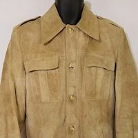 Woolrich Mens Suede Leather Jacket Vintage 60s Beige Brown Size 40 Small