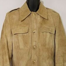 Woolrich Mens Suede Leather Jacket Vtg 60s Beige Brown Size 40 Small