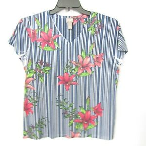 Chicos Blouse Top Size 1 = Medium Blue Floral Day Lily  Short sleeve V neck