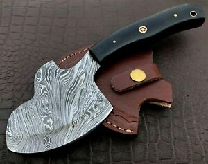 Handmade Axe-Damascus Steel Viking Axe-Camping-Outdoors-Leather Sheath-DH106