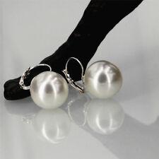 Boucles d'Oreilles Dormeuses Argenté Grosse Perle Blanche Class Retro 18mm EE3