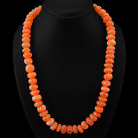 SUPERB TOP GRADE 681.05 CTS NATURAL ORANGE CARNELIAN ROUND CARVED BEADS NECKLACE