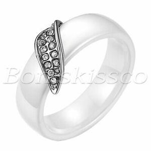 Women Men Stainless Steel Ceramic Full Rhinestone Leaf Shape Band Ring Size 6-10