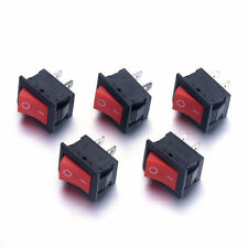 5PCS 6A/250V ON-OFF I/O SPST 2 Pin Snap in Rocker Switch Red Button 2 File