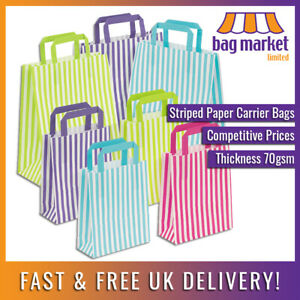 Candy Striped Paper Tape Handle Carrier Bags   Gifts/Party/Weddings/Sweets