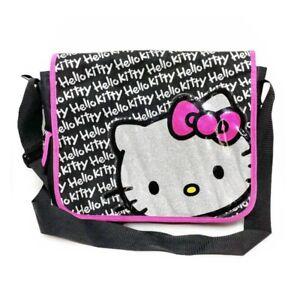 "Hello Kitty Glitter Messenger Bag Flap and Strap 14""x12x5"