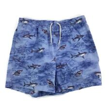 Vintage Polo Sport Mens Shark Print Blue Board Shorts Swim Trunks Size XL Vtg