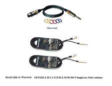 ROCKCABLE CAVO PER MICROFONO CASSE CANNON XLR F + JACK 6,3 set di 2 CAVI da 10mt