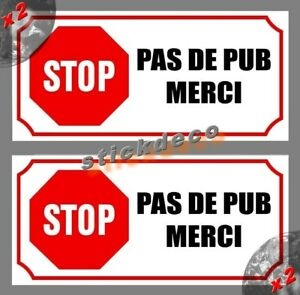 2x Stickers Autocollant STOP PAS DE PUB MERCI boite aux lettres STICKER 85mm