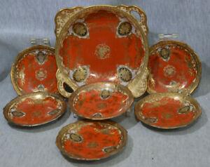 Meito Porzellan Handmalerei - Prunkschale mit 6 Gebäckteller