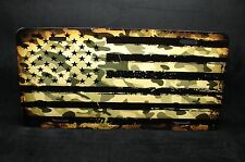 CAMO AMERICAN FLAG  METAL LICENSE PLATE TAG FOR CARS USA FLAG CAMOFLAGE COLORS