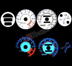 93-97 Honda Del Sol w/Tach Reverse Blue El Glow White Gauge