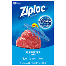 Ziploc Freezer Quart Bags with New Grip 'n Seal Technology, Quart, 75 Count