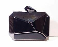 KOTUR Black Brass Acetate Geometric Evening Clutch Minaudiere Purse
