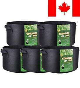 VIVOSUN 5-Pack 15 Gallons Heavy Duty Thickened Nonwoven Fabric Pots Grow Bags...
