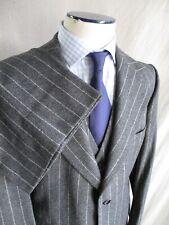 Ysl Yves Saint Laurent vintage 70s gray flannel chalk stripe 3-pc suit slim 40R