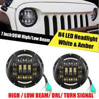2X H4/H13 7 Inch LED Headlight Angle Eyes HI/ LO Beam DRL For JEEP  Wrangler JK