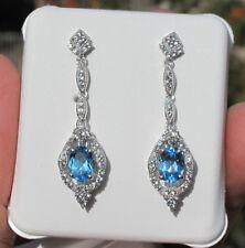 Victorian Style Blue Topaz Dangling Earrings set in Sterling Silver
