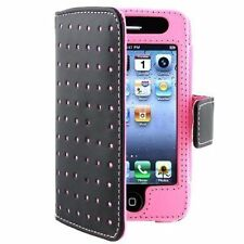 Leather Wallet Case for iPhone 4 / 4S - Pink Dot