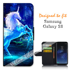 For Samsung Galaxy S8 Wallet Flip Phone Case Cover Unicorn Magic Y00001