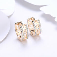 Vintage 18K Yellow Gold Filled Hollow CZ Huggie Hoop Earrings