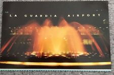 New York City~La Guardia Airport Entrance Fountain @ Night~1960-70s Postcard