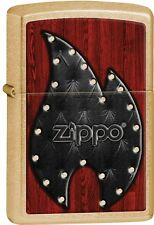 Zippo 2015 Catalog Gold Dust Leather Flame Smooth Brass Bolted Lighter 28832 NEW