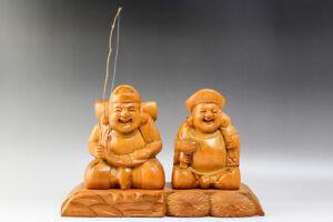 Japanese EBISU DAIKOKU Seven Lucky Gods Wood Carving Statue #21615