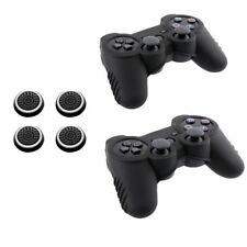 2x Black Skin Case + 4x White Thumbstick Cap For Sony PS3 Slim Controller