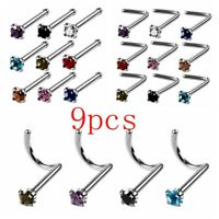 9pcs Steel CZ Nose Studs Pin Nostrial Piercing 20G Charms Nose Ring Multi Style