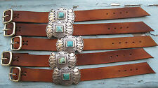 Supple Saddle Tan Leather & Natural Turquoise Cuff Bracelet NEW BATCH!