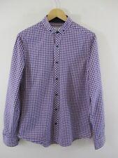 River Island shirt UK.M.Button down collar.Blue red check,navy buttons. Smart.