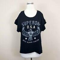 Superdry M T-Shirt Tee Cold Shoulder Open Back Black