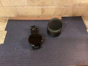 Motorola Moto 360 1st Gen 46mm Case Dark Grey Metal Smart Watch and Cradle