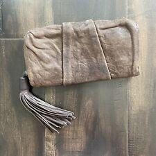 All Saints Spitafields Brown Leather Wallet Clutch Boho Tassel Fringe Super Soft