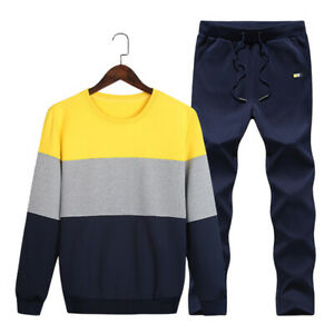 Men Tracksuit 2 Piece Sport Casual Pants Sweater Sweatshirt Athletic Sets